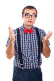 Nerd man gesturing. Portrait of nerd man gesturing and explaining something, isolated on white background Stock Photos