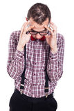 Nerd man with headache Stock Photos