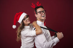 Nerd man with his girlfriend Stock Images