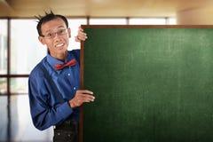 Nerd Man Holding Blank Board