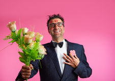 Nerd man with lipstick face marks Valentines Day Royalty Free Stock Image