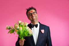 Nerd man with lipstick face marks Valentines Day Royalty Free Stock Images