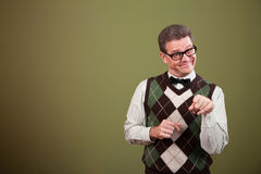 Nerd Man Pointing Index Finger Royalty Free Stock Photo