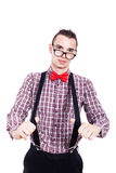 Nerd man with suspenders Stock Images