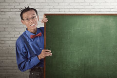 Nerd man wearing suspender and bow tie Stock Image