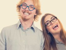 Nerd man and woman having fun smiling royalty free stock images