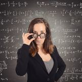 Nerd math teacher. Eccentric nerd math teacher asks the students Royalty Free Stock Image