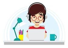 Nerd med runt exponeringsglasarbete på bärbara datorn Royaltyfri Illustrationer