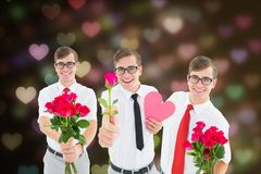 Nerd men holding red roses and heart against digitally generated background. Smiling nerd men holding red roses and heart against digitally generated background Royalty Free Stock Photography