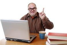 Nerd met laptop royalty-vrije stock foto