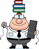 Nerd Multitask. A happy cartoon nerd multitasking with a variety of items royalty free illustration