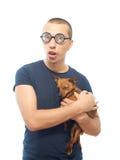 Nerd och hund arkivfoton