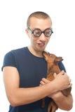 Nerd och hund fotografering för bildbyråer