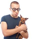 Nerd och hund royaltyfri bild