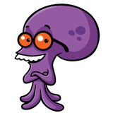 Nerd Octopus Cartoon Vector. Smiling Nerd Smart Octopus Cartoon Vector Stock Images
