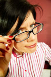 Nerd office woman Royalty Free Stock Images