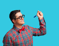 Nerd with pen Royalty Free Stock Images