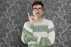 Nerd pensive silly man retro wallpaper Royalty Free Stock Photo