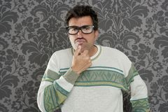 Nerd pensive silly man retro wallpaper Stock Images