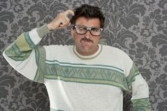 Nerd pensive silly man retro wallpaper Stock Photos