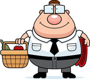 Nerd Picnic. A happy cartoon nerd with a picnic basket vector illustration