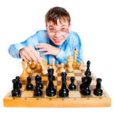 Nerd play chess Royalty Free Stock Photography