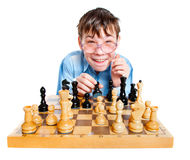 Nerd play chess Royalty Free Stock Photos