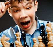 Nerd play chess Stock Photos