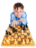 Nerd play chess Stock Images