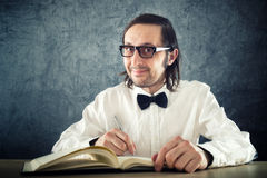 Nerd poet writing poems Royalty Free Stock Photography