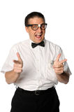 Nerd Pointing. Nerd with fingers pointing isolated over white background stock photo