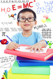 Nerd preschooler study science Royalty Free Stock Photos