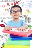 Nerd preschooler study science Royalty Free Stock Photos