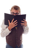 Nerd reading Stock Photos