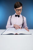 Nerd reading book. Royalty Free Stock Photo