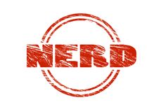 Nerd Red vintage rubber stamp isolated on white background Royalty Free Stock Image