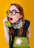 Nerd redhead girl Royalty Free Stock Images