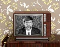 Nerd retro 60s vintage wooden tv presenter. Nerd retro 60s vintage tv presenter hero on wood television wallpaper Stock Photography