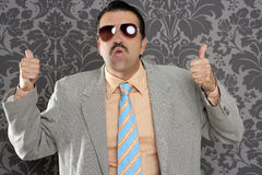 Nerd retro man businessman hand gesture Royalty Free Stock Image