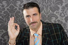 Nerd retro man businessman ok hand gesture Royalty Free Stock Image