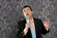 Nerd retro mustache man microphone singing silly Stock Images
