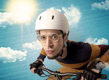 Nerd rider with bicycle. Royalty Free Stock Photos