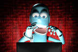 Nerd Robot hacker arrested with red binary code. A human shaped Robot arrested in front of a computer Stock Photos