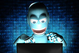 Nerd Robot hacker with blue binary code Stock Image