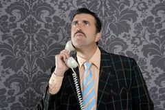 Nerd scared expression businessman telephone call Stock Photo