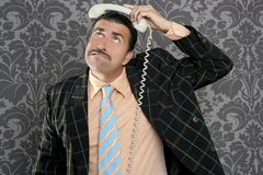 Nerd scared expression businessman telephone call Stock Photos