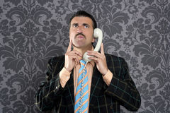 Nerd scared expression businessman telephone call royalty free stock image