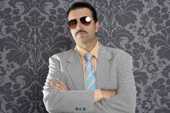 Nerd serious proud businessman sunglasses portrait. Wallpaper background Royalty Free Stock Photography