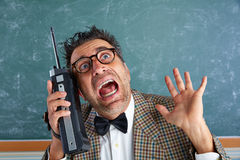 Nerd silly private investigator retro walkie talkie Royalty Free Stock Images