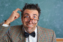 Nerd silly retro man with braces funny expression Stock Photo